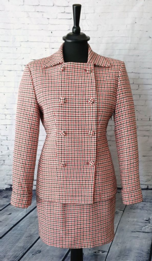 """Lucy"" Ladies 100% Wool Double Breasted Dogtooth Suit"